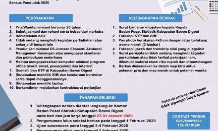 Rekrutmen Mitra Tenaga Administrasi Sensus Penduduk 2020 Badan Pusat Statistik Kabupaten Boven Digoel
